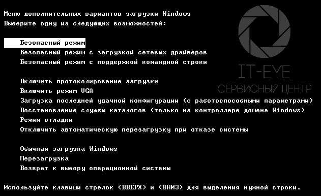 Меню выбора режима загрузки на компьютере или ноутбуке, работающем на Microsoft Windows 7